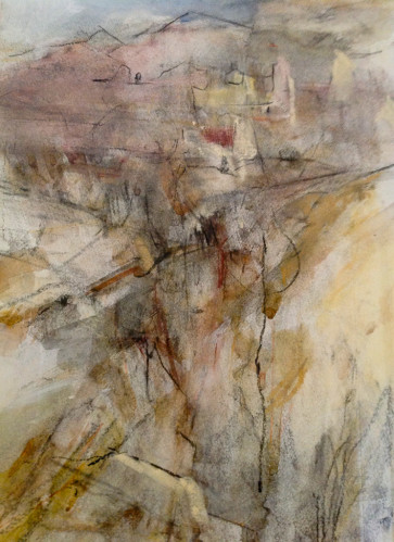 Almeria Mountains, Spain, Pastel and Charcoal on Paper 30.5cm x 39cm 2010 by Vivienne Haig