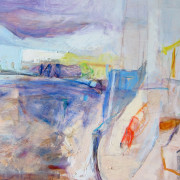 Boat with Red Sail, Oil on board, 47cm x 62cm 2013 by Vivienne Haig