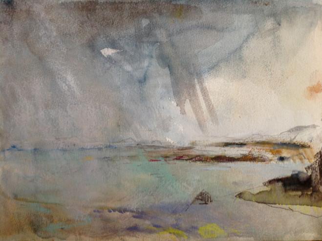 Noon, off Barra. Pastel on Paper, 25cm x 34cm 2013 by Vivienne Haig