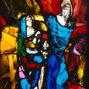 Two Figures Stained Glass panel 42.5cm x 50cm 1989 by Vivienne Haig