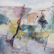 A view in August Watercolour and pencil on paper 12cm x 24cm 2013 by Vivienne Haig