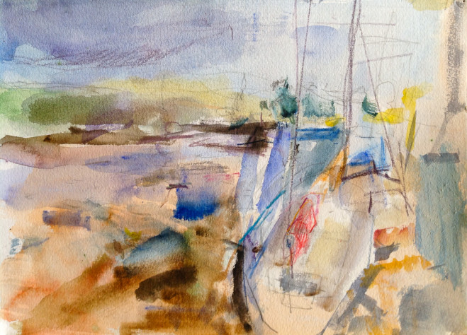 Boat with Red Sail 2 by Vivienne Haig