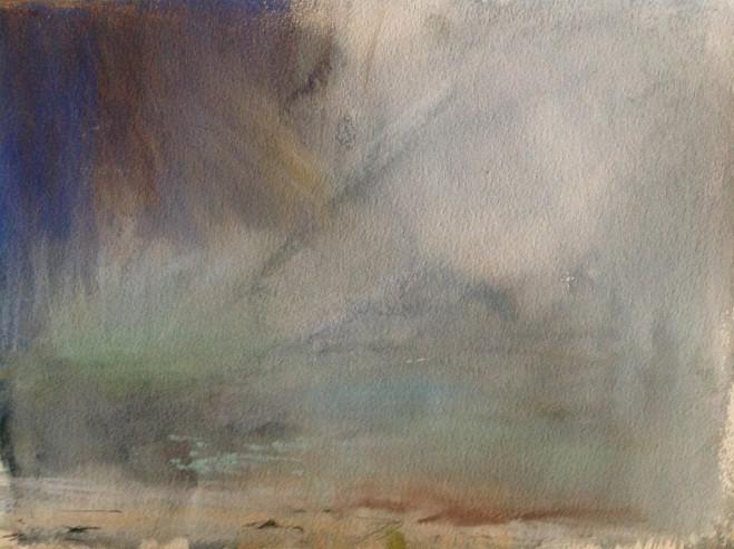 Encroaching mist, South Uist, Paste; on Paper, 25cm x 34cm 2013 by Vivienne Haig