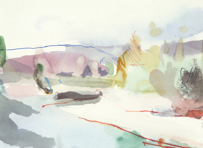 River near Belluno, Italy. Watercolour and ink on paper, 30cm x 41cm 1989 by Vivienne Haig