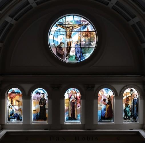 Stained glass window by Vivienne Haig, St. Patrick's Catholic Church, Soho, London