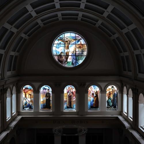 Stained glass windows by Vivienne Haig, St. Patrick's Catholic Church, Soho, London