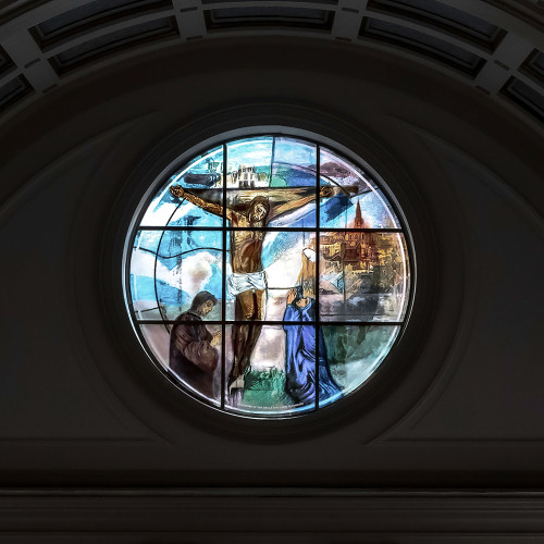 Stained glass Rose Window by Vivienne Haig, St. Patrick's Catholic Church, Soho, London